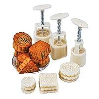 12個/セット ムーンケーキ型 ハンドプレッシャーペストリーメーカー フラワースタンプモード プランジャーキット プラスチックビスケットクッキーカッター 月型ケーキ型 デザートデコレーション ベーキングツール DIY耐熱皿キッチン用品