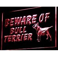 ADVPRO Beware of Bull Terrier Dog Decor LED看板 ネオンプレート サイン 標識 Red 400 x 300mm st4s43-i836-r