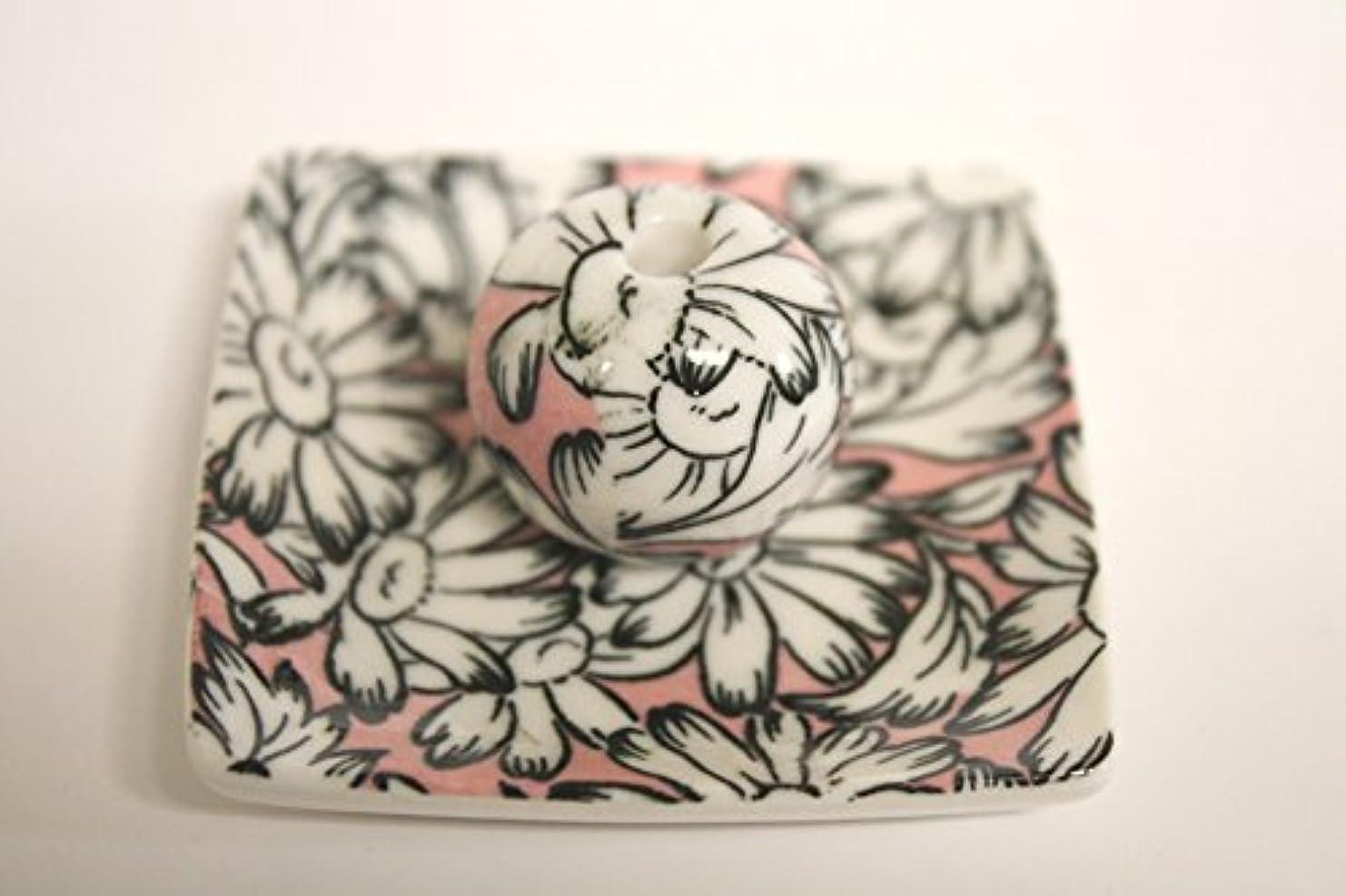 以下こどもの宮殿妻マーガレットピンク 小角皿 お香立て 陶器 ACSWEBSHOPオリジナル