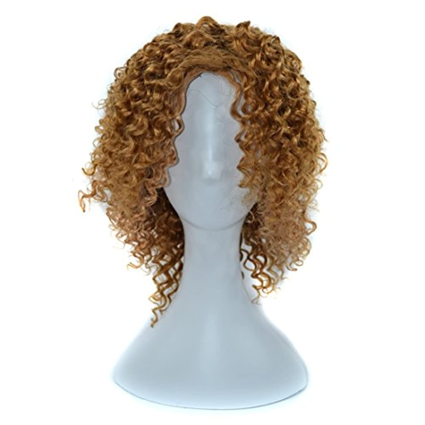 つかむクモ中性YOUQIU 傾斜前髪髪を持つ女性黒浮き、赤やライトブラウンディープカールウィッグはウィッグセットのウィッグを染めすることができないために14インチ本物の人間の髪の毛 (色 : 淡い茶色)
