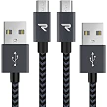 RAMPOW Braided Micro-USB Cable [2-Pack, 1m] Android Charger Cable/Samsung Fast Charging Cable for Galaxy S7/S6/, Sony, Motorola and More - Space Gray