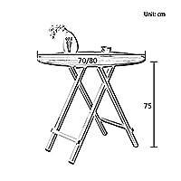 JTWJ 折り畳みテーブルポータブルダイニングテーブル小さなアパートシンプルなラウンドテーブルホームシンプルなテーブル食卓の折り畳み (色 : Maple cherry wood color, サイズ さいず : 70*75cm)