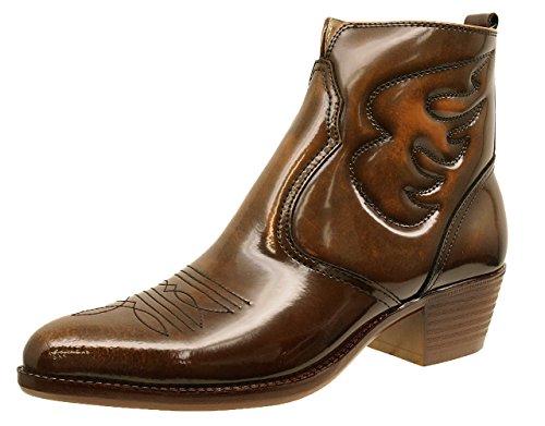 [TEXAS VILLAGE] テキサス ヴィレッジ ウエスタンブーツ ファスナー付 天然皮革 男性 5521 (24.5cm, BROWN)