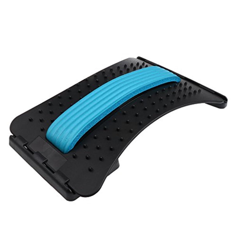 削るサークル苦痛Fenteer バックストレッチャー マッサージャー サポート 3色選べる - 青
