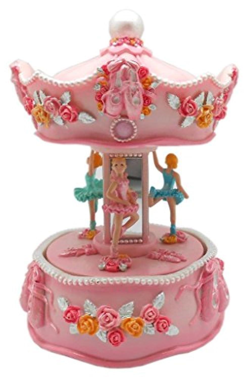 Lightahead Standing Ballerina Musical Carouselテーブルトップセンターピースポリエステル樹脂でクリスマス音楽ボックスFigurine