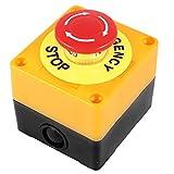 スイッチ,SODIAL(R) プッシュボタンAC660V10A緊急停止のプラスチックケースハードレッドスイッチ