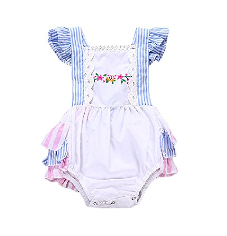Bebogo ベビー 幼児幼児女の赤ちゃんのストライプレースのかぎ針編みのトリムロンパースフリルOnesieボディスーツ服