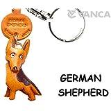本革製 犬キーホルダー ジャーマン シェパード VANCA CRAFT (日本製 職人の手作り)