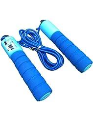 調整可能なプロフェッショナルカウント縄跳び自動カウントジャンプロープフィットネス運動高速カウントジャンプロープ - 青