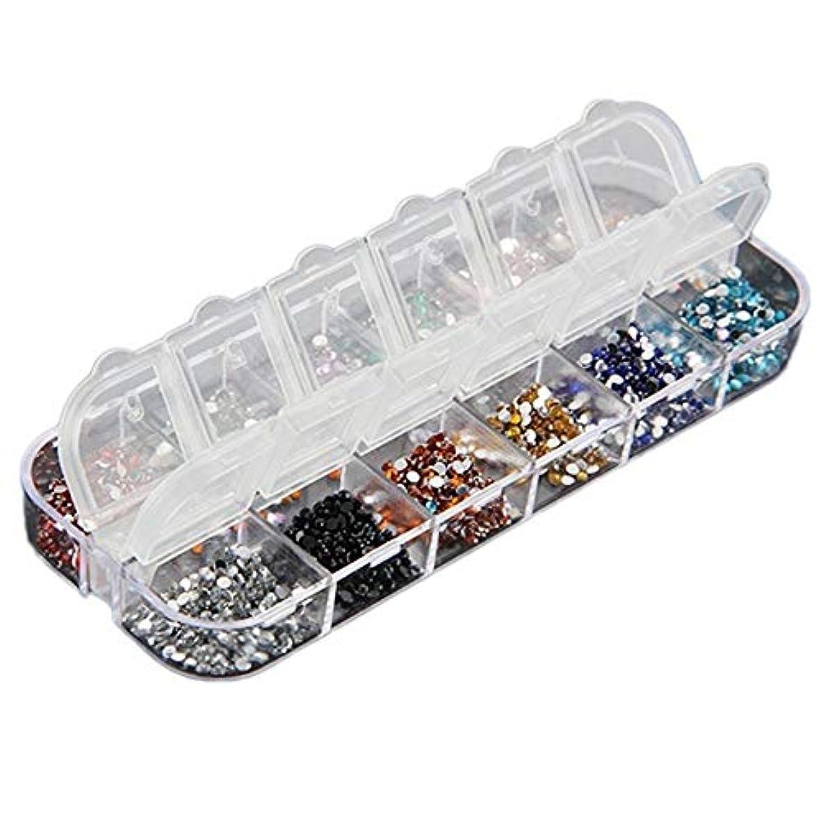 電池オートマトン蒸Orient Direct 3000ピース1.5ミリメートルラウンドラインストーン12色ハードケース3dカラフルグリッター砂利クリスタル宝石鋼ビーズネイルチャーム装飾多色