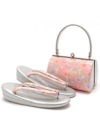 (キステ)Kisste 草履バッグセット 振袖用 <エナメル加工> フリーサイズ ピンク <流水桜> 7-4-06761