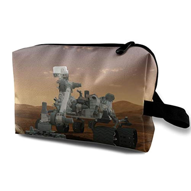 キャンペーン効能あるベーシックThe Mars Curiosity Rover On The Moon 収納ポーチ 化粧ポーチ 大容量 軽量 耐久性 ハンドル付持ち運び便利。入れ 自宅?出張?旅行?アウトドア撮影などに対応。メンズ レディース トラベルグッズ
