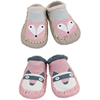 2 Pairs of Baby Boys Girls Indoor Slippers Anti-Slip Shoes Socks 9-18 Months (9-18 Months, Fox and Raccoon)