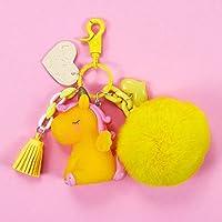 Yoshilimen 重要な超かわいい虹の馬キーリングユニコーンキーチェーンガールバッグバッグ電話用バッグのためのキーのカップルキーホルダー(None Yellow love wool ball)