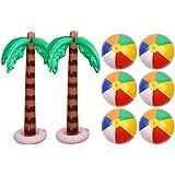 ゴシレ Gosear 2ピースインフレータブルココナッツの木+ 6ピース12インチビーチボールバレーボール用夏ルアウハワイテーマパーティー