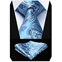 HISDERN Men's Silk Tie Handkerchief Woven Elegant Paisley Wedding Necktie & Pocket Square Set