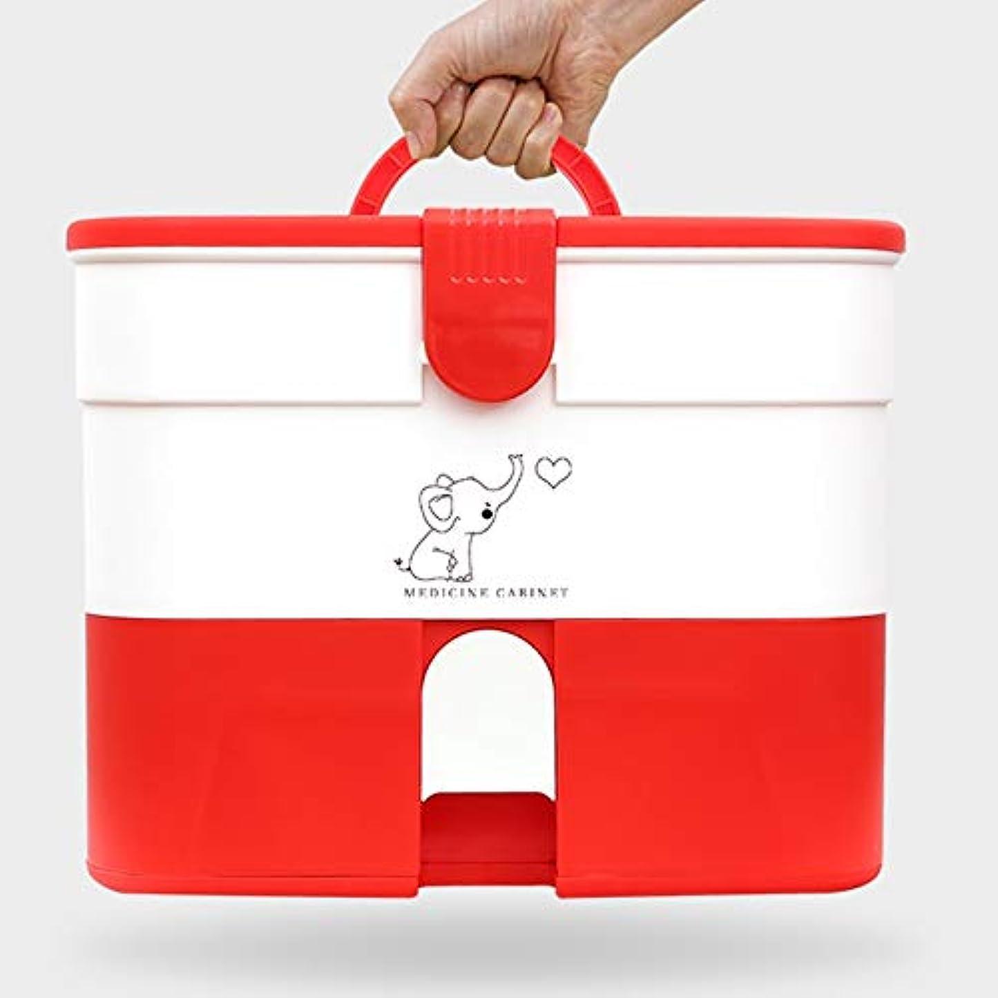 ブース熟読する算術Yxsd 応急処置キット 家庭用応急処置キットロック可能な医療キャビネット、家庭用プラスチック医療収納ボックスオーガナイザー、旅行職場 (Color : Red)