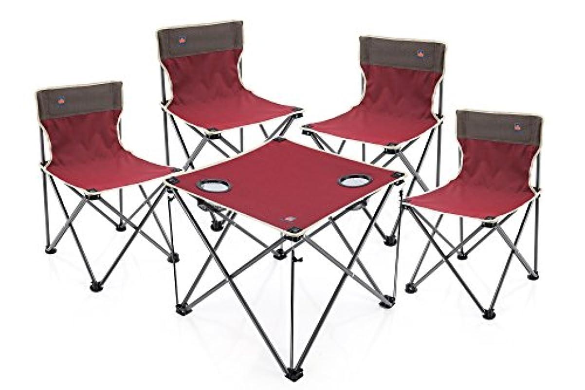 その後類人猿ベッドを作る折り畳みテーブル&チェア5件セット 組み立て簡単 軽量で持ち運び便利 収納バッグ付き キャンプ アウトドア