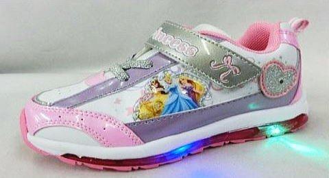 【ディズニー】 プリンセス フラッシュスニーカー 6667 ピカピカ光る 靴 (17cm, ホワイト...
