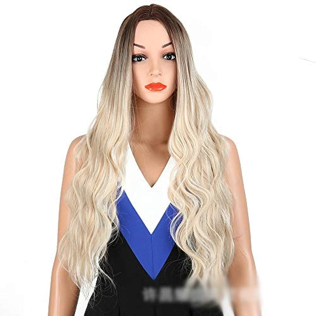 しっかり予知違うWASAIO 女性のライトブロンドボディウェーブウィッグファッションロングカーリーヘアミドルパーツアクセサリー用スタイル交換ファイバー合成フリーキャップ付き (色 : Light blonde)