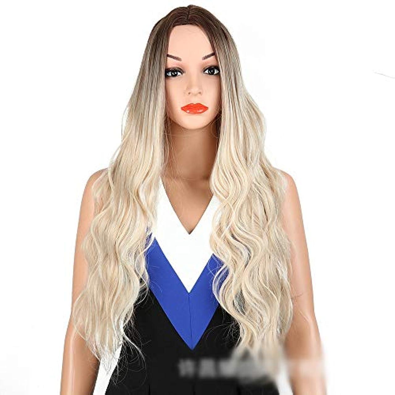 吸収眠る自動的にWASAIO 女性のライトブロンドボディウェーブウィッグファッションロングカーリーヘアミドルパーツアクセサリー用スタイル交換ファイバー合成フリーキャップ付き (色 : Light blonde)