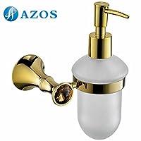 AZOS 壁付 洗面器取付タイプの液体ソープ入れ ソープ・シャンプー用ディスペンサー 洗面・手洗い用 金の色 GJKE2115G