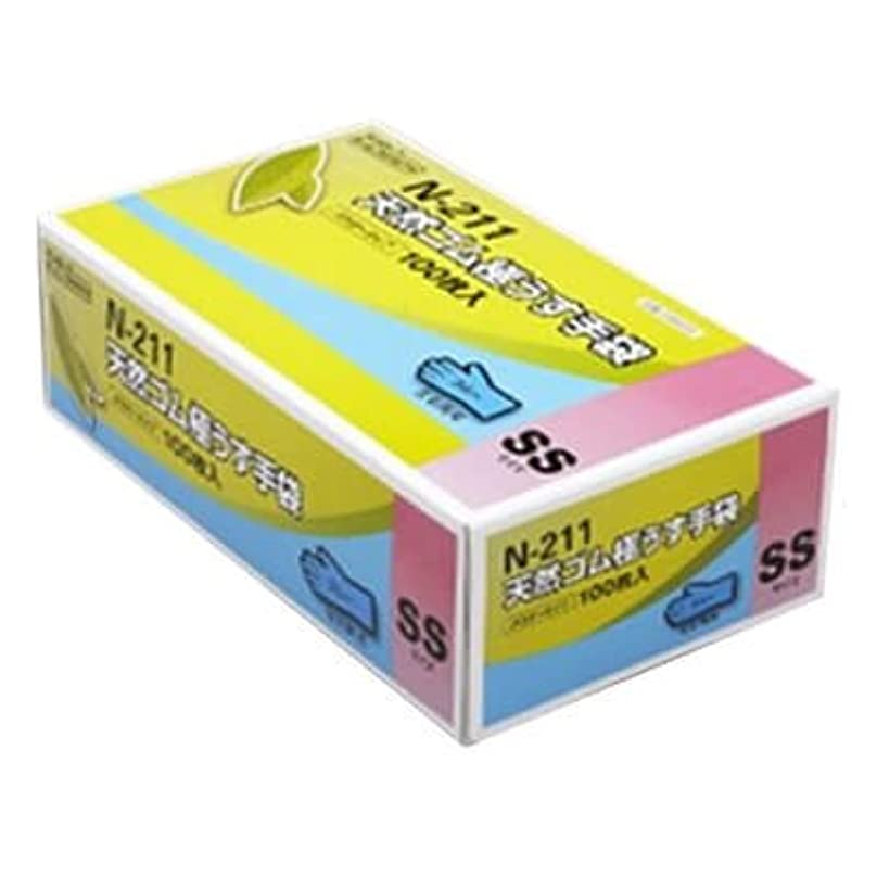 オーバーフロータップベスビオ山【ケース販売】 ダンロップ 天然ゴム極うす手袋 N-211 SS ブルー (100枚入×20箱)