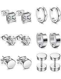 KARAY 6 Pairs Stud Earrings Hoop Earrings for Men Women Stainless Steel Huggie Earrings Set Piercing (6 Pairs Silver)