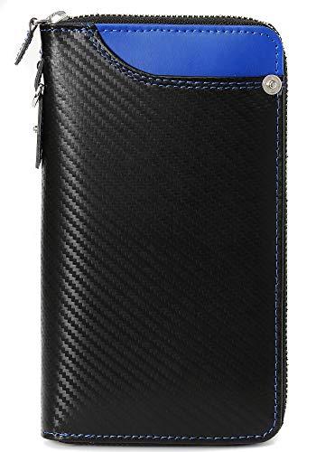 7fb0168b8be7 ブラック×ブルー F 長財布 メンズ ドイツ産 カーボンレザー 財布 本革 カーボン レザー ラウンドファスナー 薄型 大容量 ファスナー レディース  サイフ ブランド なが ...