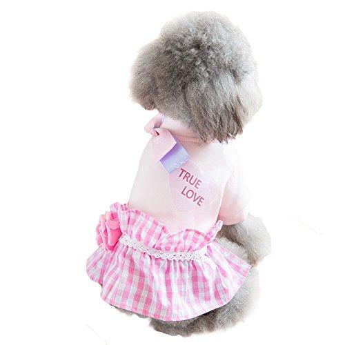 ペット 犬 服 秋冬 ワンピース かわいい お姫様 小中型 ペットウェア 防寒 暖かい バラ チェッ...