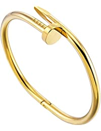 Surprise S Factory Price Personality Women Nail Bracelet Stainless Steel Open Couple Bangle