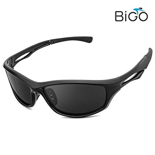 BIGO スポーツサングラス 偏光レンズ 男女兼用 偏光 サングラス 超軽量・UV400紫外線カット 釣り/ランニング /スノボー/スキー/自転車/ドライブ/バイク/テニス/運転用 収納ポーチ付属