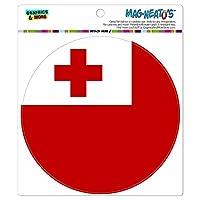 トンガナショナルカントリー旗 - サークル MAG-格好いい'S(TM)カー/冷蔵庫マグネット