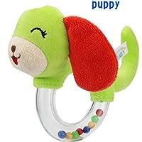 Dalinoベイビーズおもちゃベビーラウンドかわいい動物透明ゴムリングRattles Hand Toy (子犬)