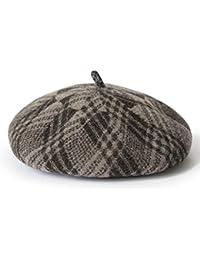 ベレーズチェック柄の調整可能な画家の帽子レディース秋冬の暖かい帽子ファッション英国スタイルユニセックスカップルビーニーハット (色 : Brown)