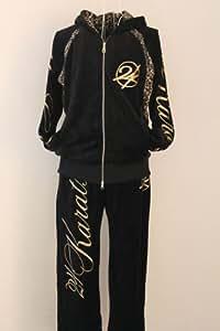 24karats 24カラッツ セットアップ ファッション ジャージ ブラック ベロア 豹柄 サイズ(L)