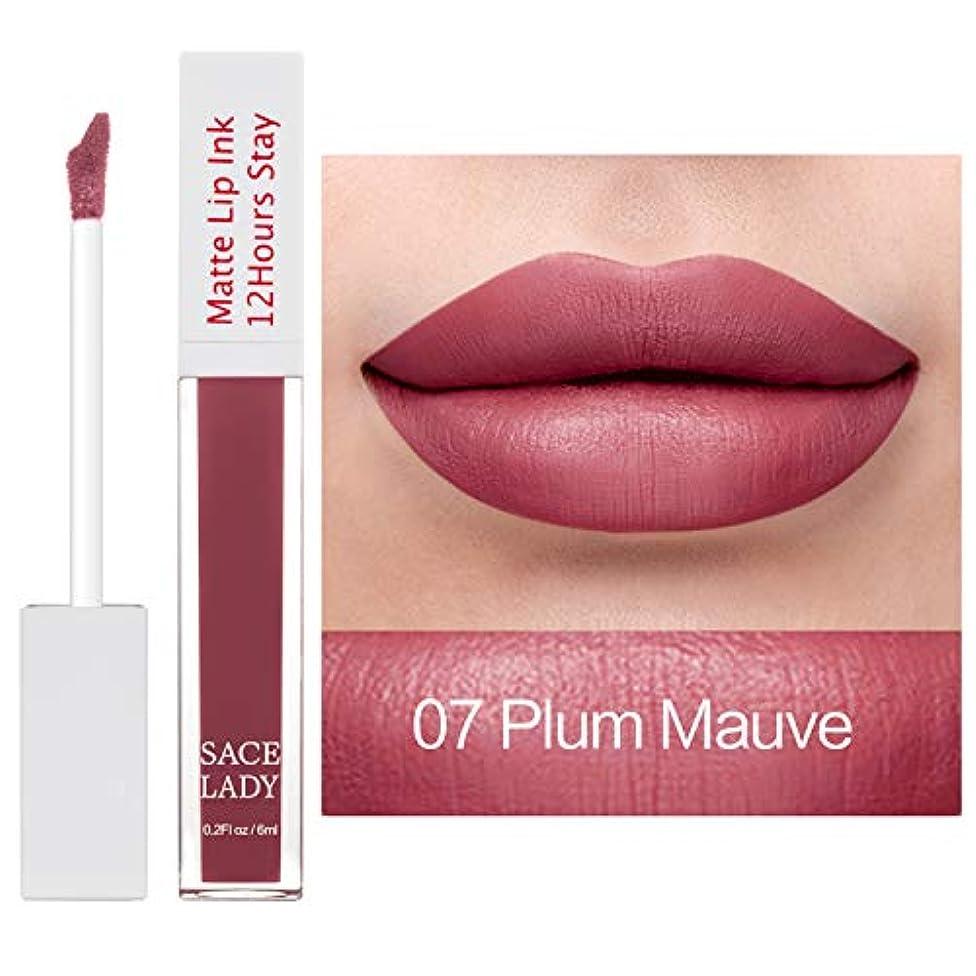 買収母音摘むSACE LADY Matte Waterproof Liquid Lipstick Comfortable Velvet Feeling(6ml/0.2oz) (Plum Mauve)