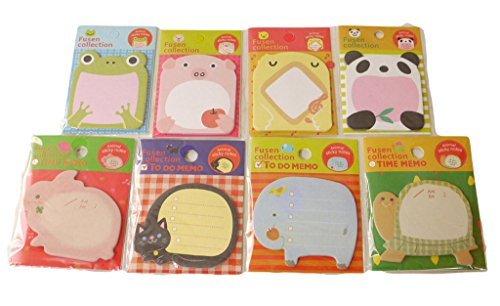 可愛い 動物 の 付箋 メモ帳 手帳やノートに気軽に貼りつけられます (1. 動物8種類セット)