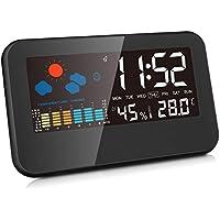 デジタル温湿度計 室内 LCD大画面 温度計 湿度計 バックライト付き最高温度湿度 最低温度湿度 図表表示 時計 カレンダー 目覚し時計 置き用 室内 生活管理 (ブラック)