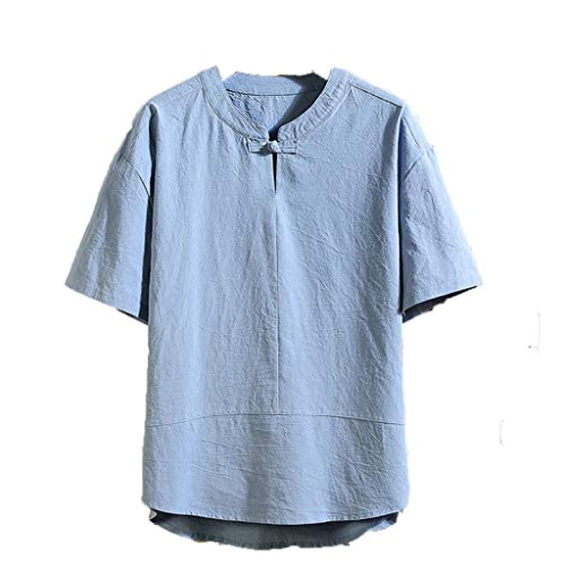 珍味たくさん説得発信スタイルの楽しみ半袖tシャツメンズメンズ夏の新しい亜麻5袖緩い半袖ファッション快適なブラウス