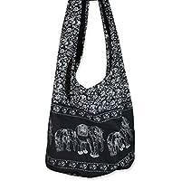 Thai Hippie Bag Unisex-Adult Hippie Elephant Sling Crossbody Bag Purse Thai Top Zip Handmade EB-01, Black, XL