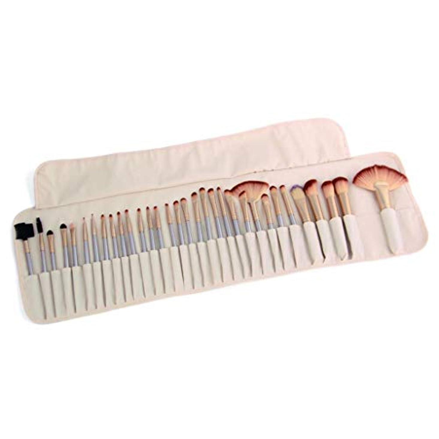 状シルク生産的32化粧ブラシセットユニバーサル化粧道具アイシャドウブラシファンデーションブラシ,White