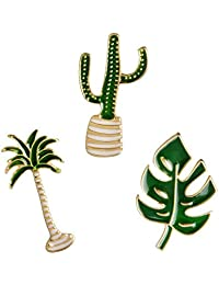 Niome 1PC Creative Cactus Coconut Leaves Plant Badge Corsage Collar Cartoon Brooch Pins Delicate Jewelry Accessories