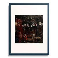 Grigorjew, Boris Dimitrijew,9369 「Abendliche Gartenszene in Paris mit Lampions.」 額装アート作品