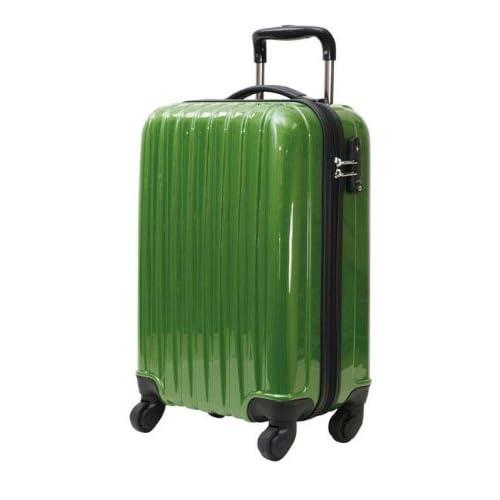 初心者さんにオススメのキャリーケース 47cm(1~2泊用) メタリックグリーン 機内持ち込み可 軽量のファスナー開閉式キャリーバッグ