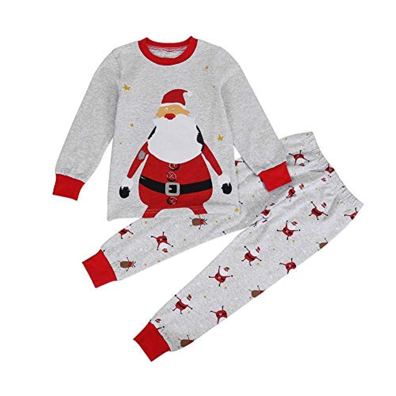 Domybest クリスマス服 パジャマ キッズ 上下セット 秋 冬 春 ベビー服 インナー 2点入り トップス+長ズボン 部屋着 肌着 男の子 女の子 幼児 セットアップ 普段着 サンタクロース柄 可愛い 柔らかい