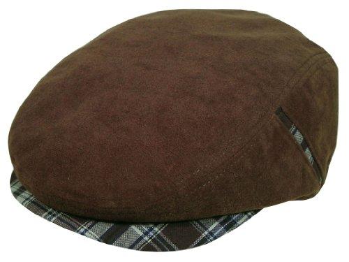 メンズ レディース 帽子 スエード ハンチング ハット 紳士 婦人 男女兼用 チェック M L 黒 茶 (L58cm, 茶)