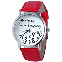 Ladies Women Girl Watch Hot Women Leather Watch Whatever I am Late Anyway Letter Watches Gift (Red)