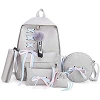 School Backpack Girl School Bag for Teenage Solid Backpack College Wind Schoolbag Women High Student Bag Black Lace Bow Bundle Backpack (Color : Grey, Size : -)