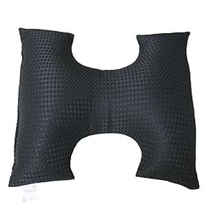 H型の洗えるランバーサポートクッション (側地:ポリエステル100% 国内生産) ブラック